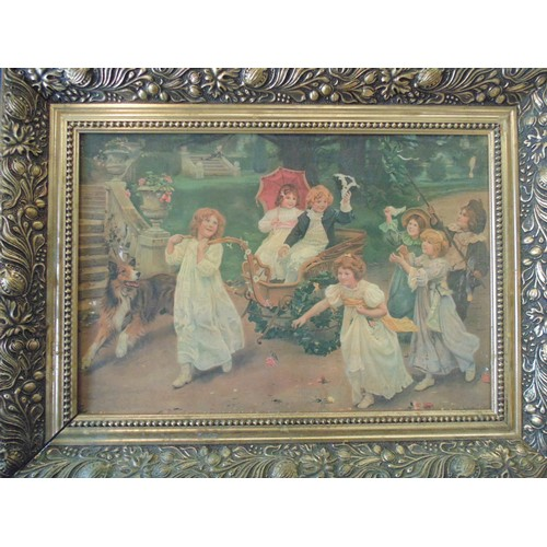 140 - Framed print of victorian children....