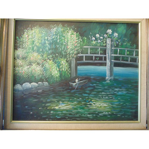 163 - Framed river scene acryulic on canvas...