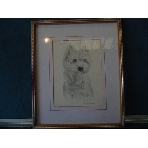 168 - Framed print of dog...