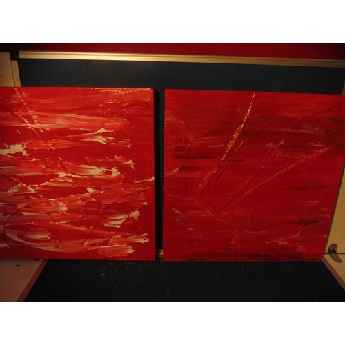 195 - Pair of red abstract canvas....