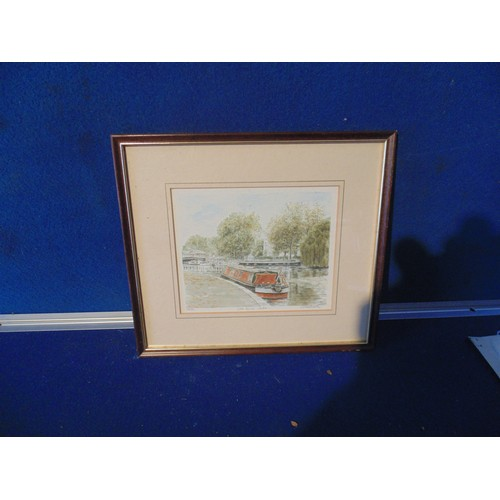 211 - Framed narrow boat picture....