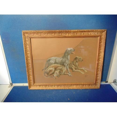 216 - Framed pastel dog drawing....