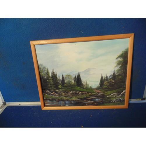 225 - Framed landscape painting....