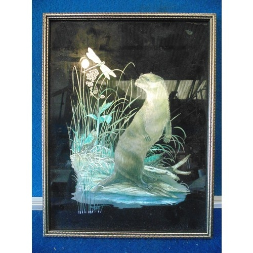 242 - Framed silver leaf and hand painted otter picture...