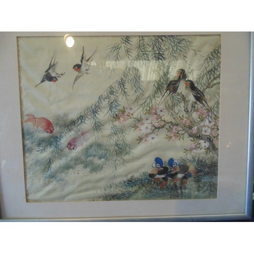 243 - Hand painted silk framed of wildlife...