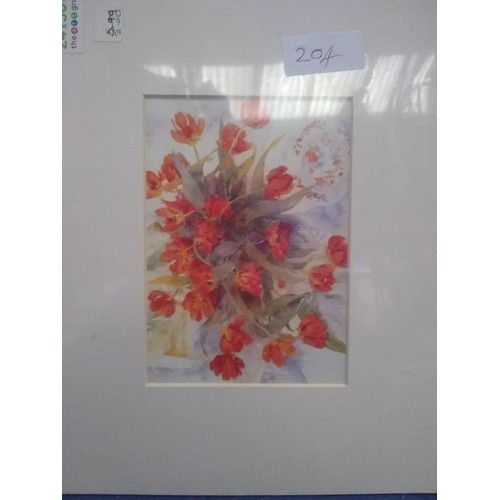 245 - Mounted Watercolour print flowers...