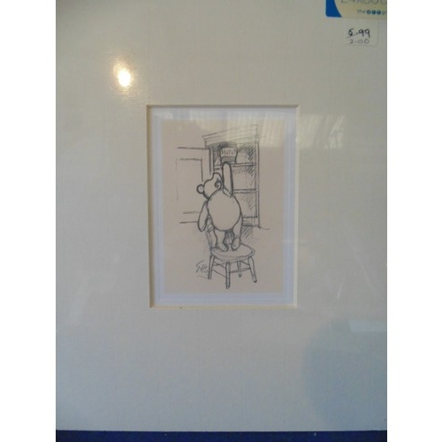 256 - Framed mounted print of Winnie Pooh...