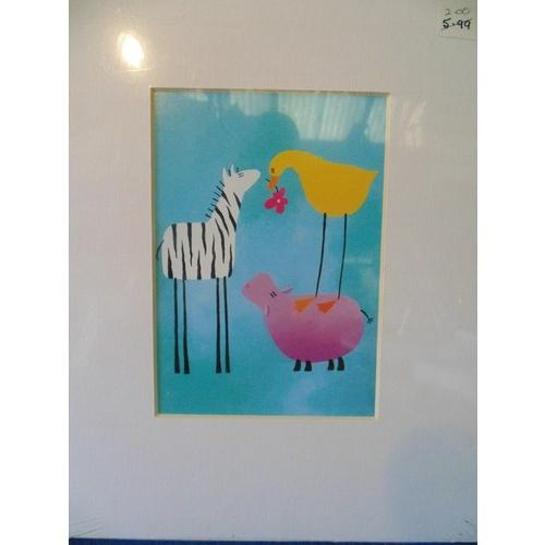 257 - Mounted print of animal illustration...