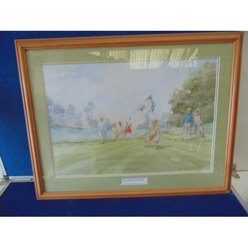 300 - Framed watercolour print of golfers titled straight down the middle...