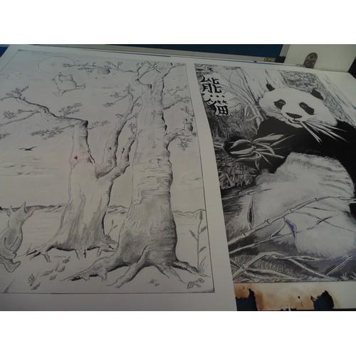 369 - 2x black and white panda prints...