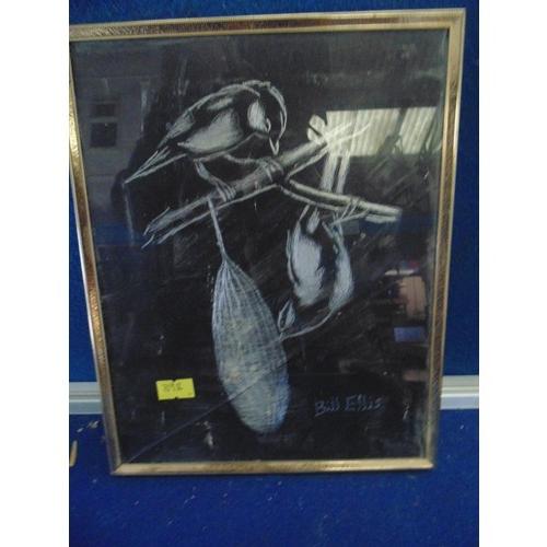 432 - Metalic scratch art framed of birds...