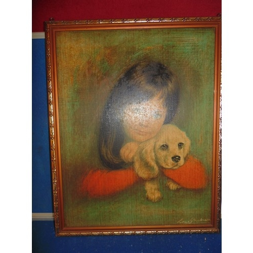 478 - Print of young girl and dog framed...