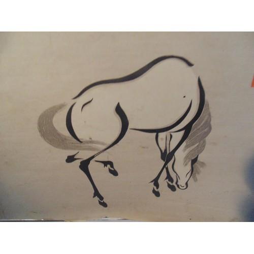 499 - Chinese horse print...