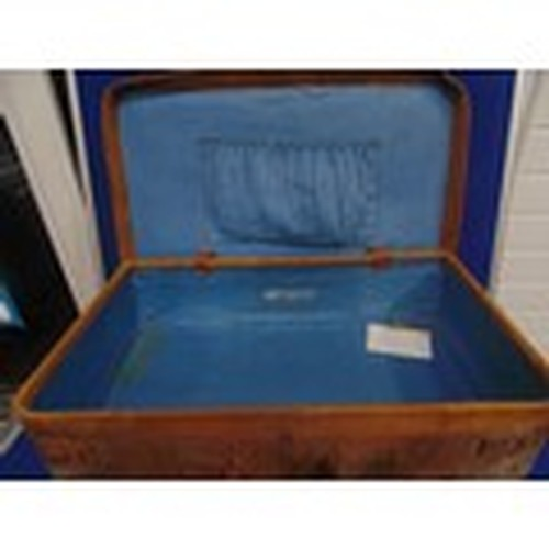 1013 - Vintage 1950's well traveled (sticker-ed) leather suitcase...