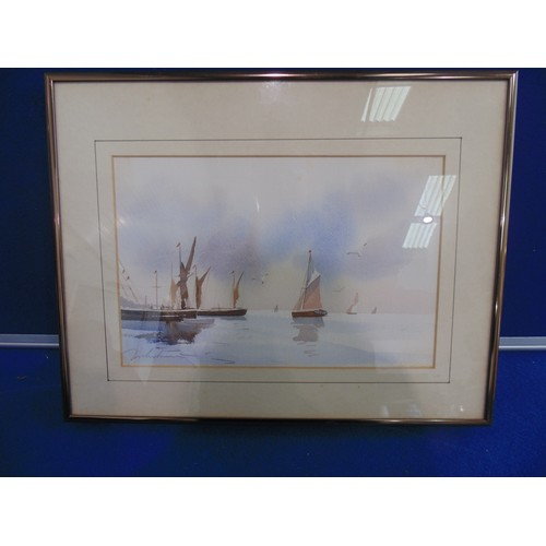1045 - watercolour depicting Boat scene...