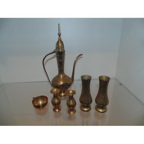 1095 - Arabic brass coffee set...