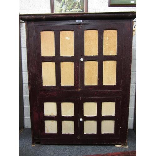 190 - Good Antique Georgian pine 4 door cupboard.  H:195cm, W: 160cm, D:60cm....