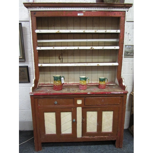 215 - Good Irish Antique Pine Galway kitchen Dresser.  H:218cm, W: 138cm, D: 51cm....