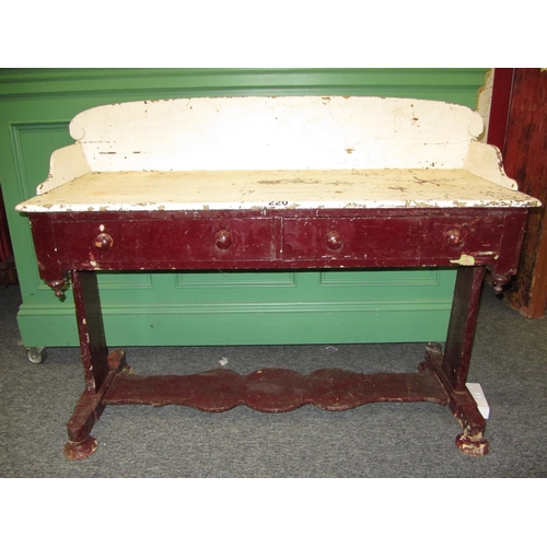 220 - Very fine antique pine tray back side table with 2 drawers and bottom shelf.  H:102cm, W:132cm, D:51...