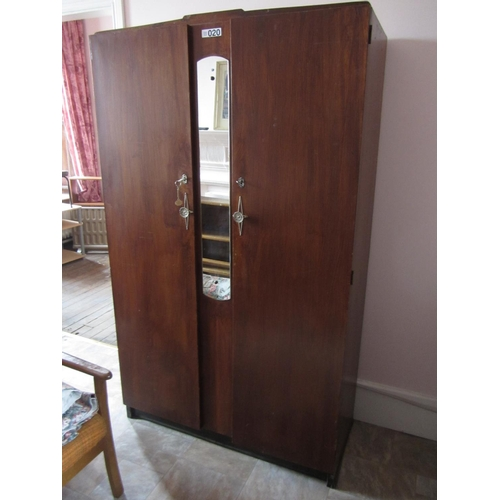 20 - Double door wardrobe with mirror. H:182cm, W:107cm, D:47cm....