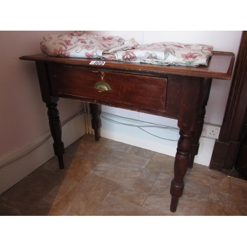 22 - Antique pine table with drawer. H:78cm, W:107cm, W:55cm....