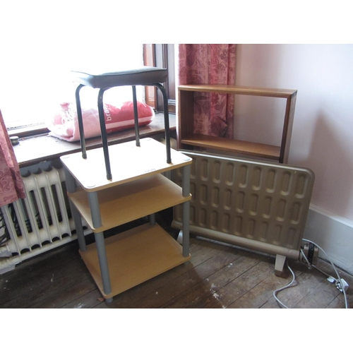 8 - Mixed lot - Electric heater, trolley, stool, and bookshelves plus electric blanket....