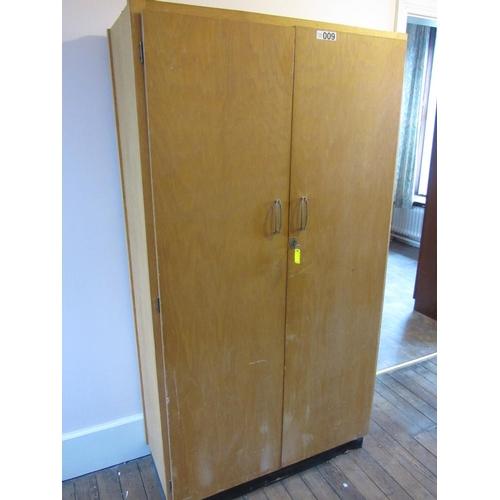9 - Double door wardrobe. H:182cm, W:98cm, D:43cm....