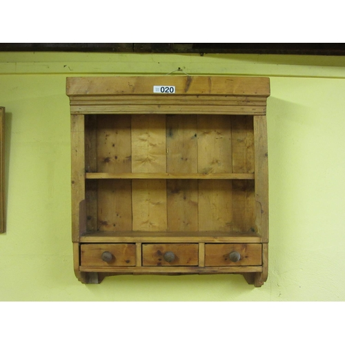 20 - Pine hanging shelf with 3 drawers.  H:80cm, W:75cm....