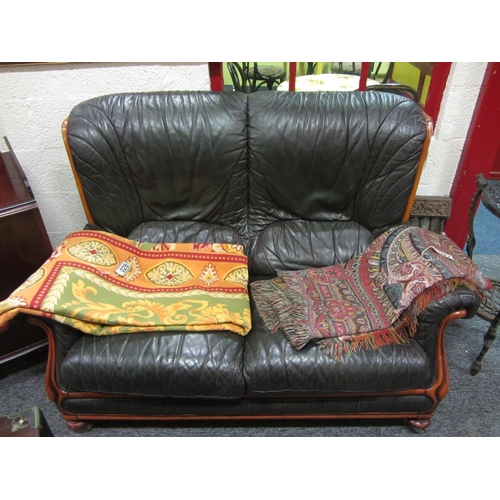 29 - Good Leather 2 seater settee. L:146cm...