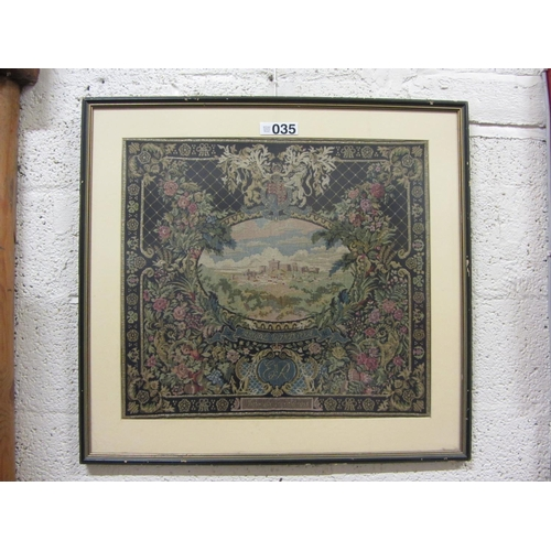 35 - Framed Tapetrsry - Royal Windsor. 78cm x 73cm....