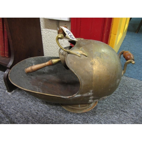 38 - Brass coal scuttle with shovel....