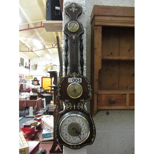 4 - Mahogany inlaid clock barometer....