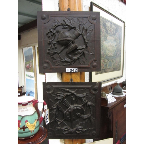 42 - Pair of Antique carved wooden wall plaques. 40cm x 43cm....