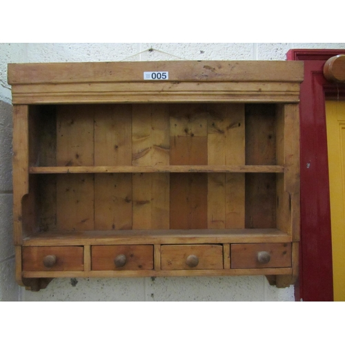 5 - Pine hanging shelf with pine drawers. H:78cm, W:92cm....
