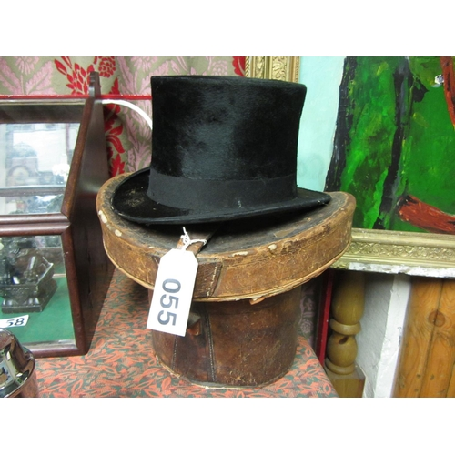 55 - Antique edwardian Top Hat and box by J W Watson....