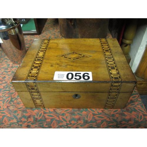 56 - Victorian mahogany inlaid jewellery casket....