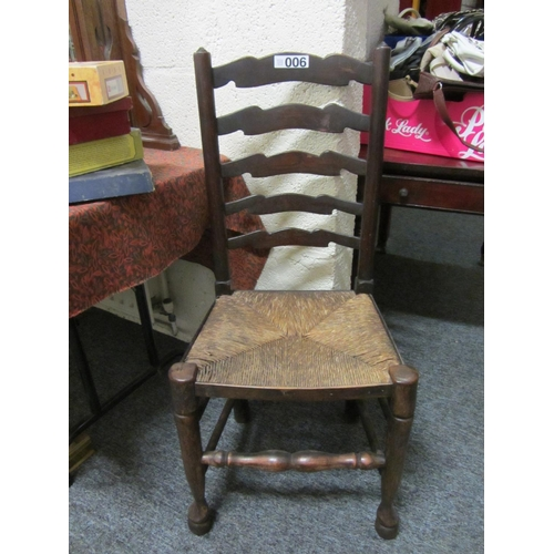 6 - Antique rush seat leather back armchair....