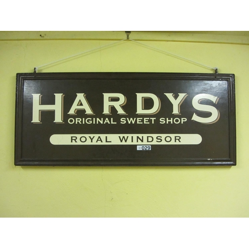 29 - Large Hardys original sweet shop advertising sign....