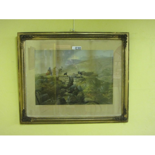30 - Antique coloured print in superb gilt frame...