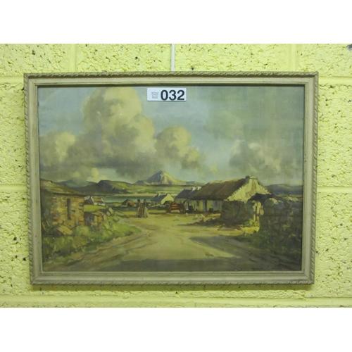 32 - Colored print - Connemara scene signed Maurice C Wilks...