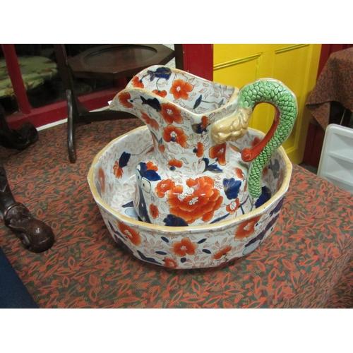 35 - Iron Stone hand painted jug and basin....