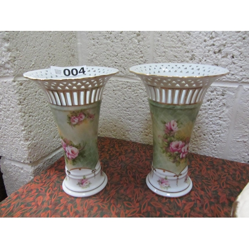 4 - Pair of ornate hand painted vases...