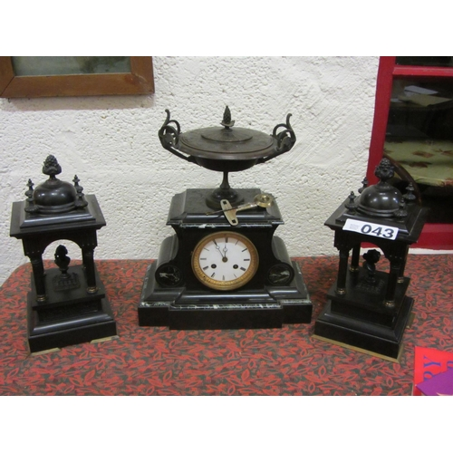43 - French marble 3 piece clock set....