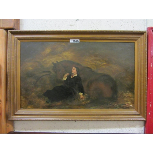 46 - Victorian oil panting - Horse and Lay....
