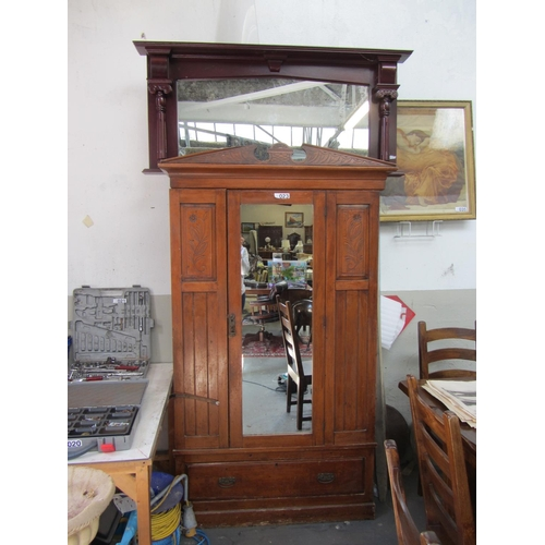 23 - Antique wardrobe and overmantle....