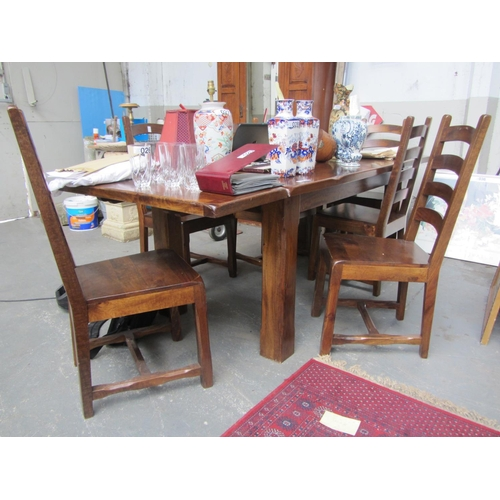 24 - Oak draw leaf table plus 6 chairs....