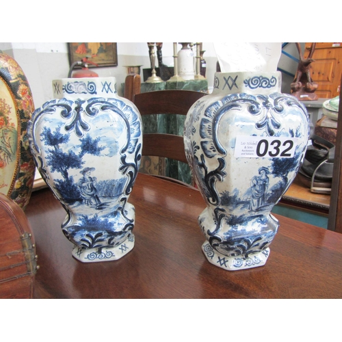 32 - Pair of c1760's delft ware vases, polychrome blue hand painted, artist Gerruit Brower....