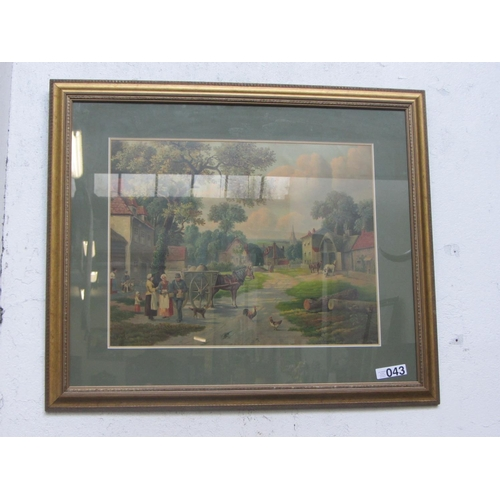 43 - Gilt framed print - Farmyard scene....