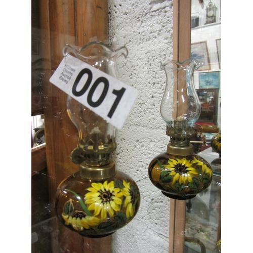 1 - Pair of miniature hand painted oil lamps. H: 14cm...