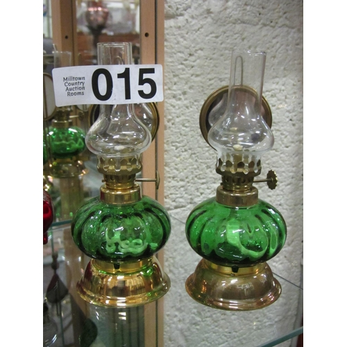 15 - Pair of miniature hand painted oil lamps with mirror back on brass stand H:17cm...